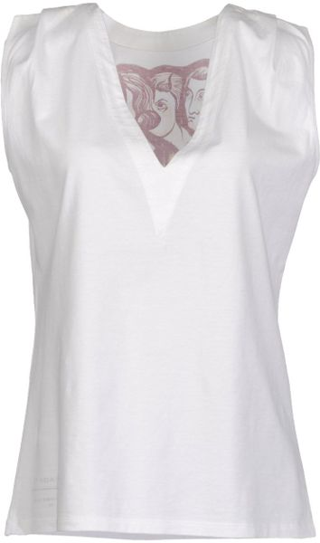Balenciaga Sleeveless Tshirt in White (bordeaux)