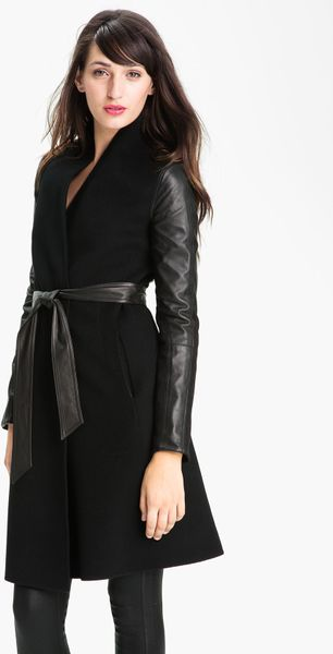Dawn Levy Minka Double Faced Wool Jacket With Leather