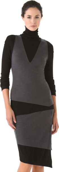 Donna Karan New York Two Tone Turtleneck in Gray (anthracite)