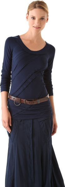 Donna Karan New York Long Sleeve Patchwork Tee in Blue (indigo)