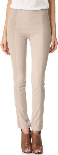 Donna Karan New York Slubbed Jersey Leggings in Beige
