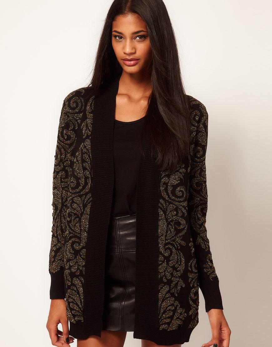 Glamorous Cardigan in Metallic Baroque in Black | Lyst
