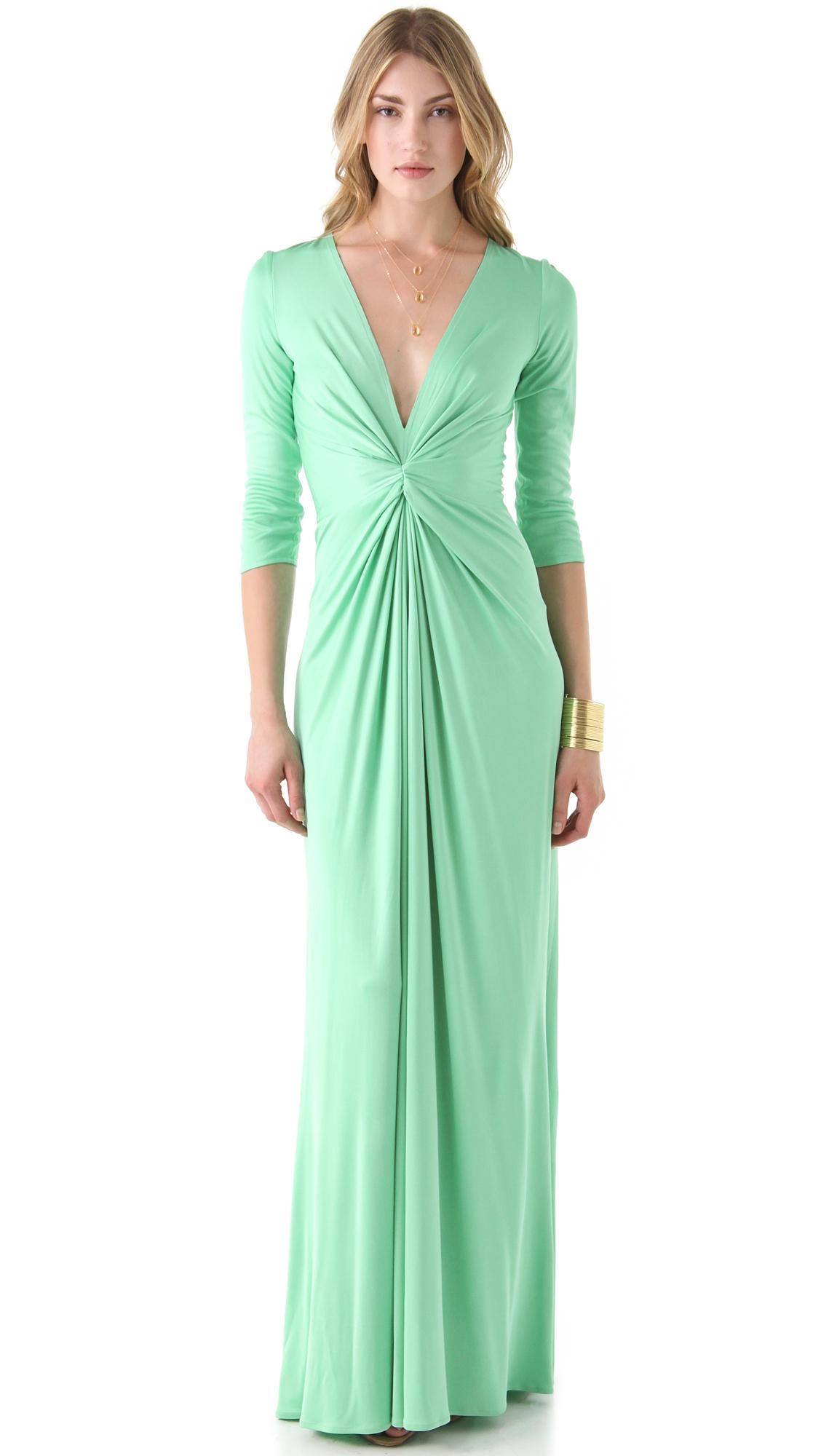 Issa Long Sleeve V Neck Dress in Green | Lyst