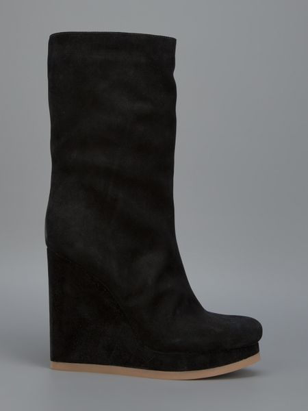jil sander mid calf wedge boot in black lyst