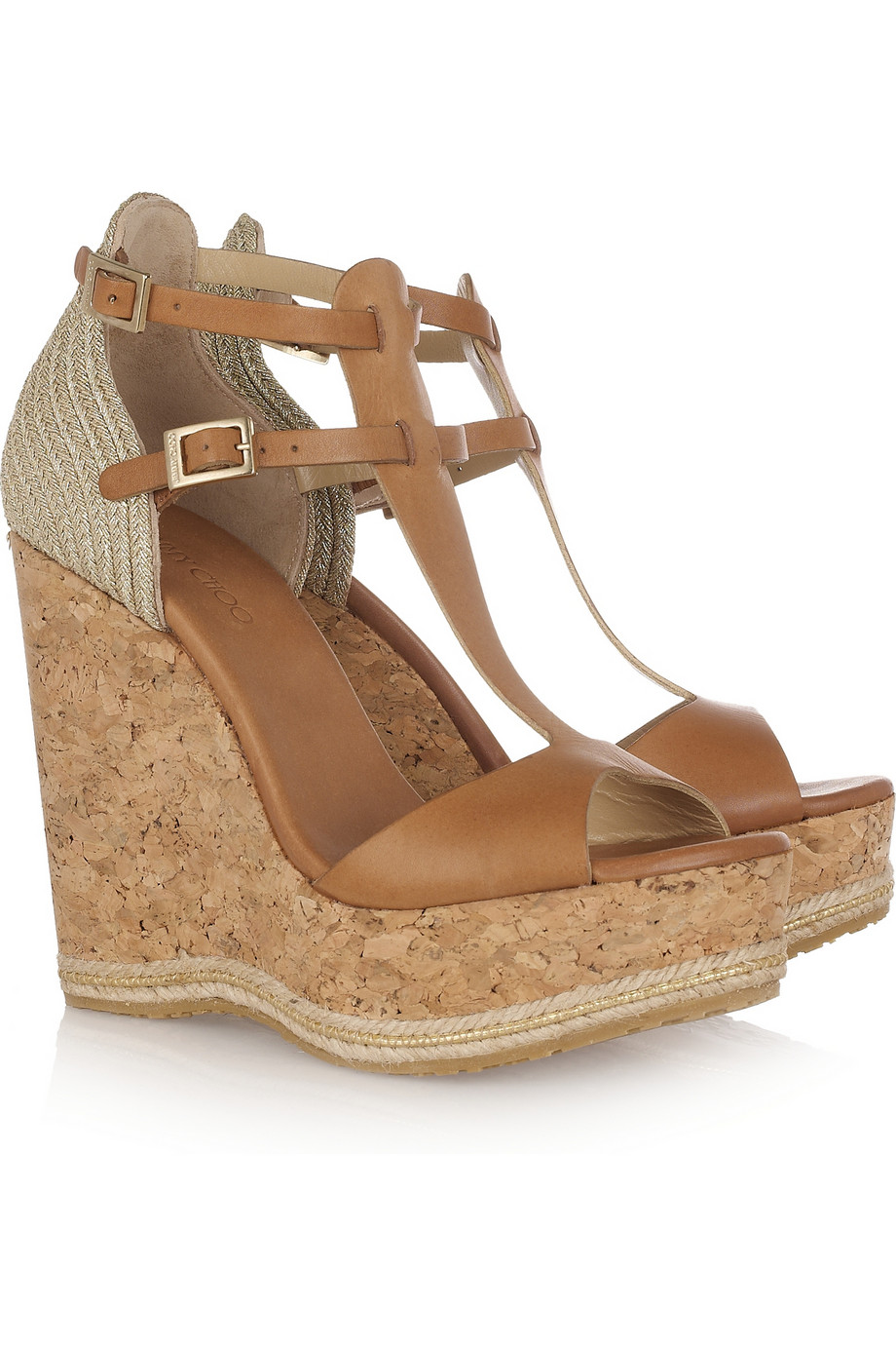 Raffia Wedge Sandals in Light Brown
