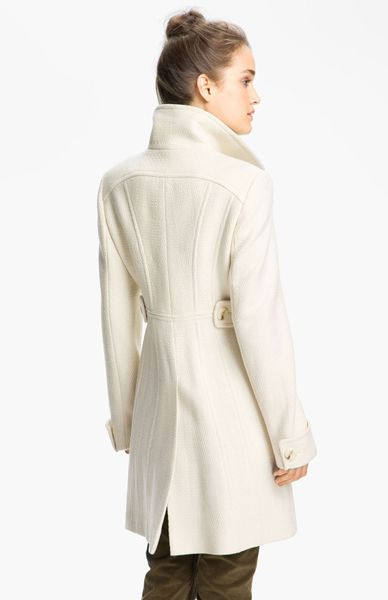 Kenneth Cole Textured Wool Blend Coat In White Vanilla