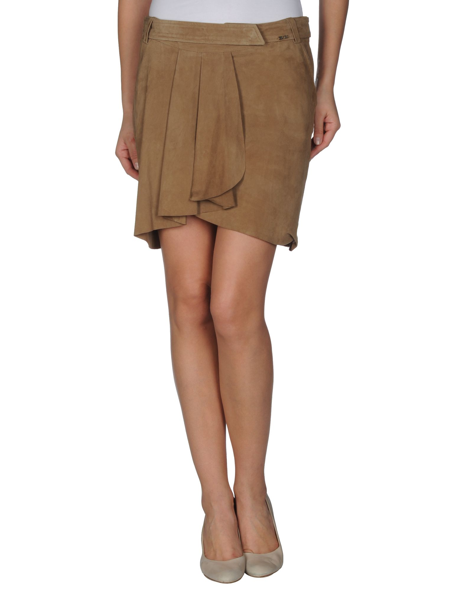 liu jo leather skirt in brown save 59 lyst