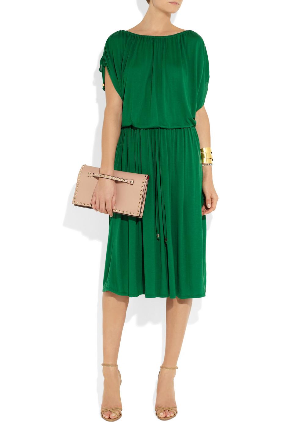 Lyst Michael Michael Kors Drawstring Jersey Midi Dress