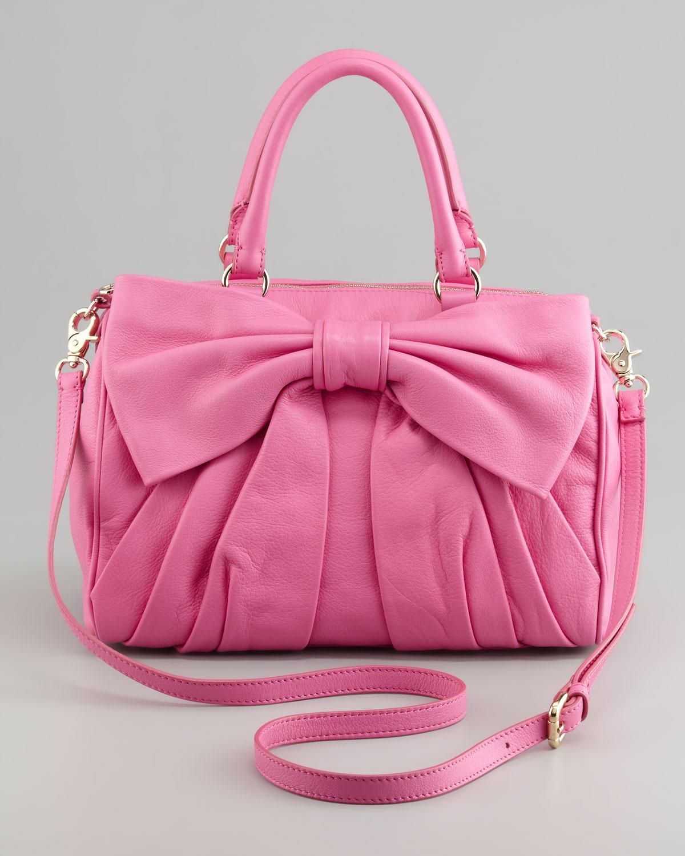 RED Valentino Calfskin Bow Topzip Satchel Bag Bright Pink ...