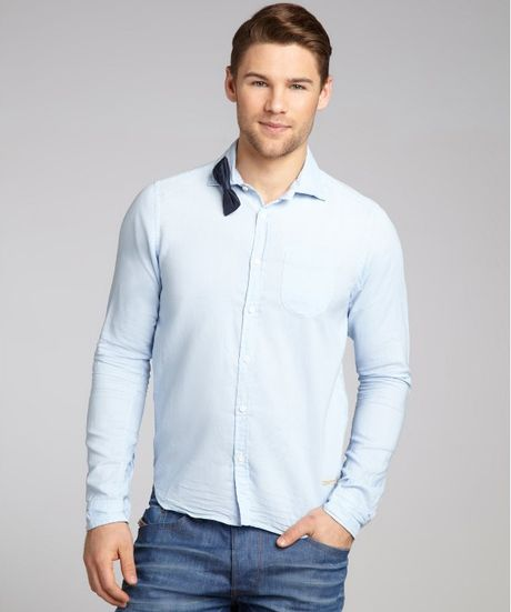 Scotch Soda Pinstripe Cotton Bow Tie Button Front Shirt