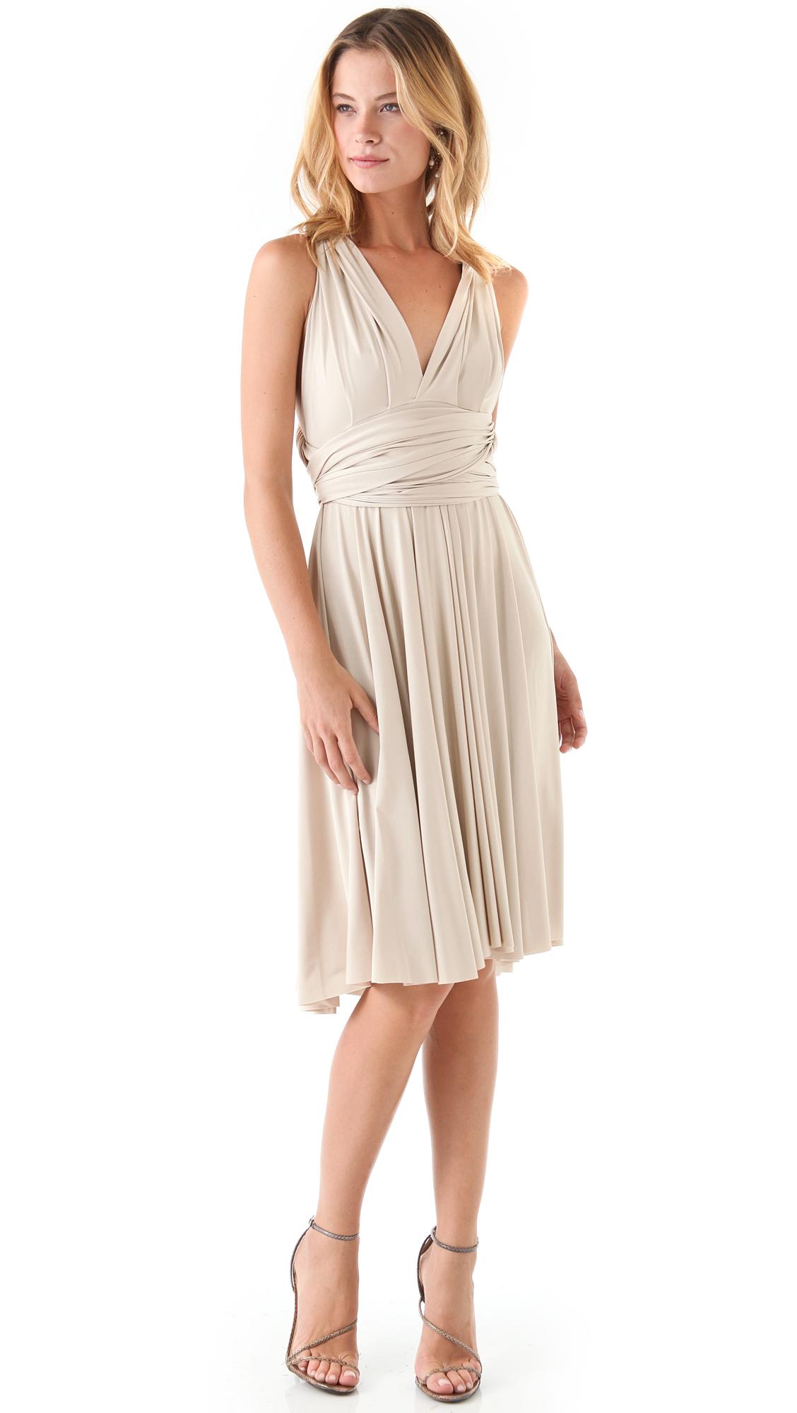 Lyst Twobirds Tea Length Convertible Dress In Natural