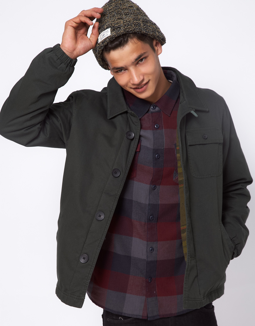 Vans Jacket Turner Workwear Stripe Inner In Green For Men