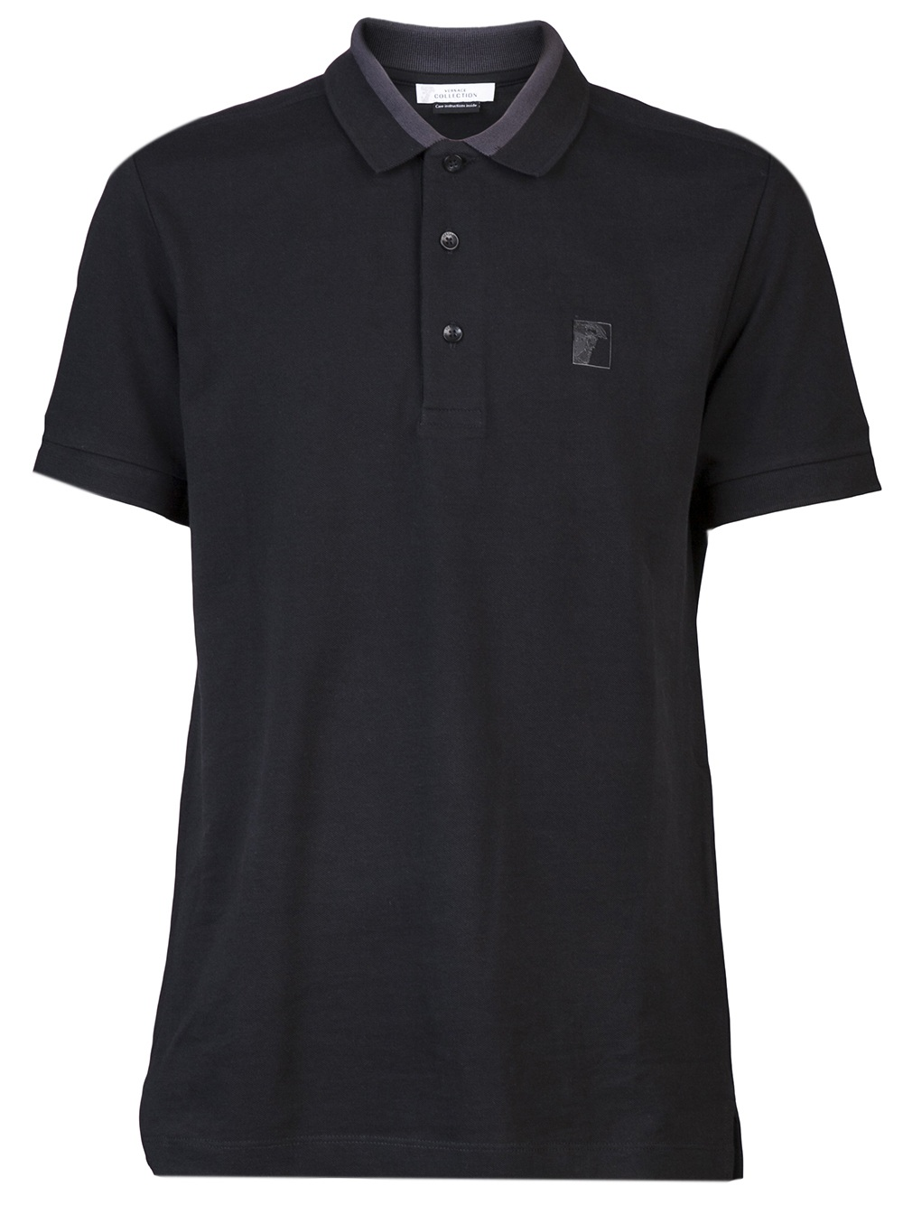 Versace Pique Polo Shirt In Black For Men Lyst