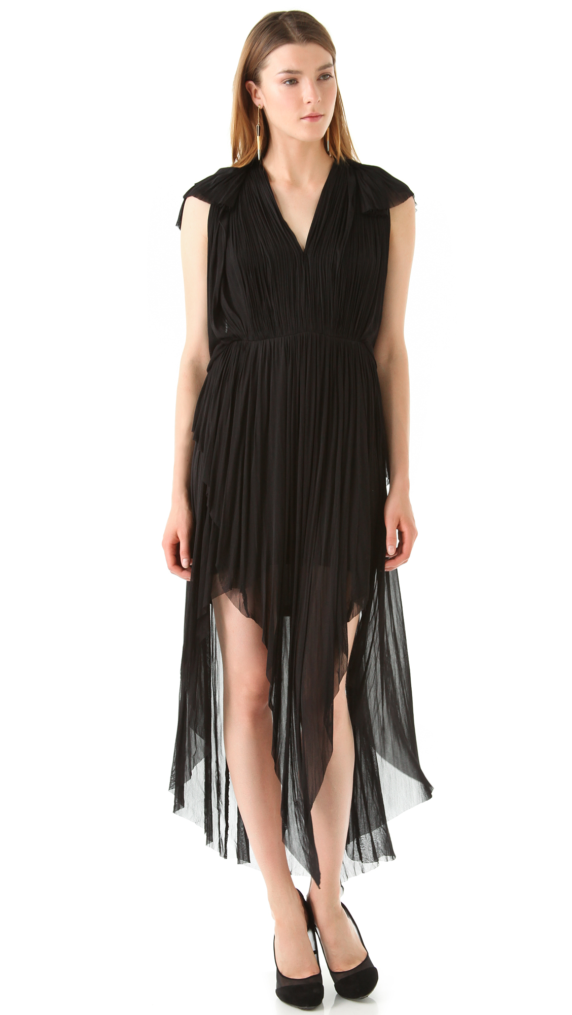 Willow V Neck Draped Tulle Gown In Black Lyst