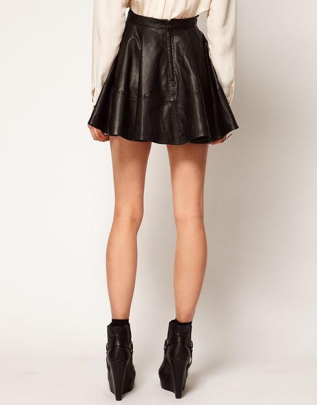 asos collection skater skirt in leather in black lyst