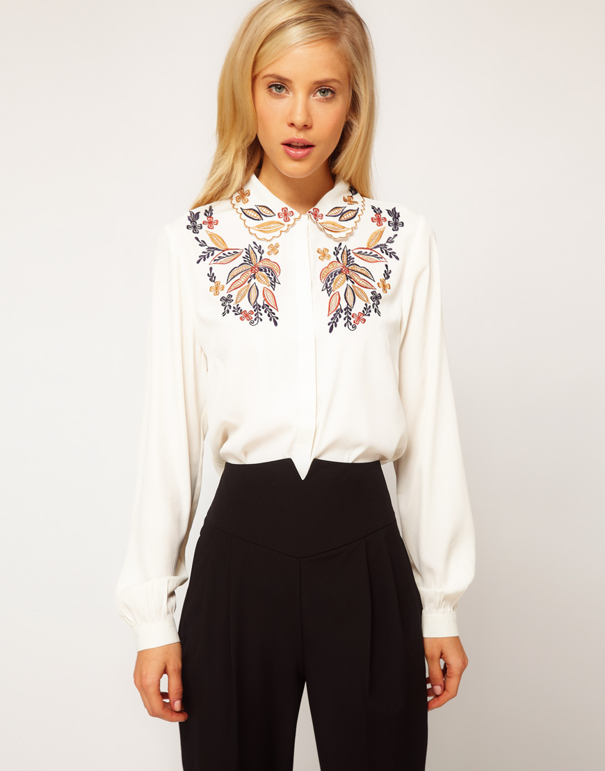 ASOS womens tie neck blue bird blouse shirt top v neck button up plus sz 18 Beautiful Asos tie-neck short sleeve blouse with a button up front. Blue, red, orange and white bird print on front. machine washable. waist across: