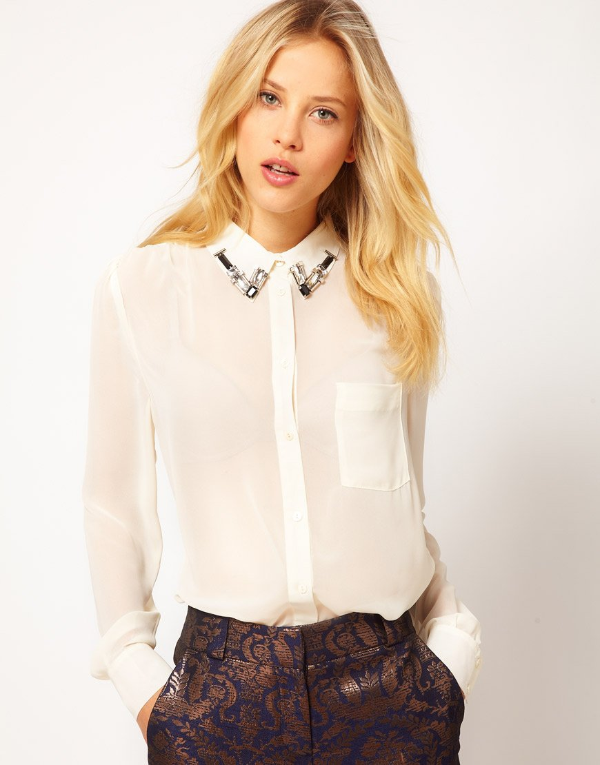Lyst Asos Collection Asos Shirt With Embellished Collar