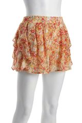 BCBGeneration Magenta and Lime Printed Woven Pleated Ruffle Trimmed Shorts
