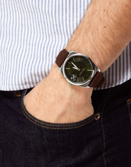 Ben Sherman Black Dial Leather Strap Watch In Brown For