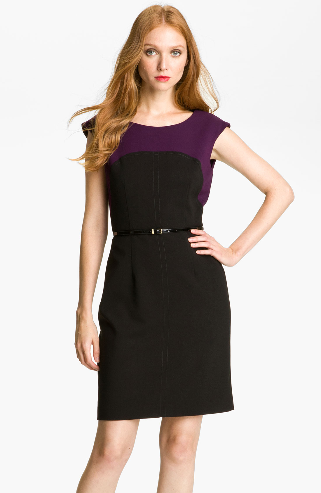 calvin klein colorblock belted sheath dress in