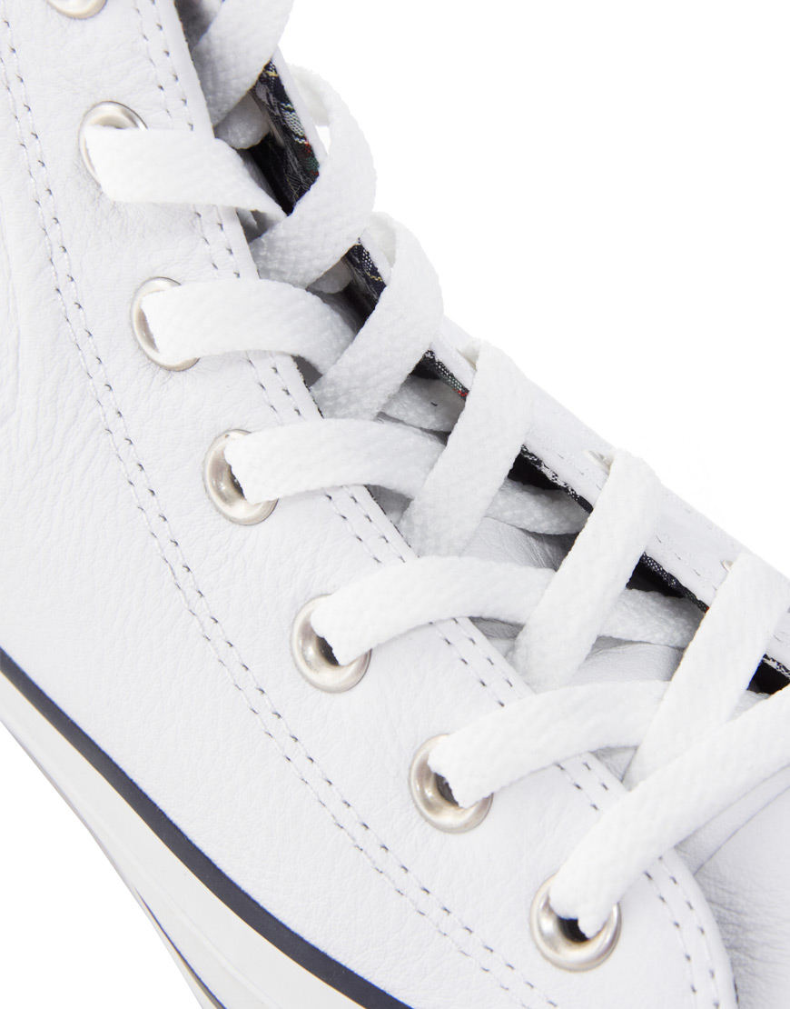 cb34211a024c Lyst - Converse All Star Leather Side Zip White High Top Trainers in ...