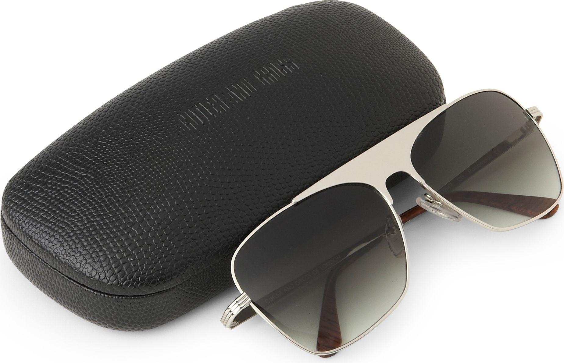 Cutler & Gross Chrome Aviator Sunglasses in Grey (Grey) for Men