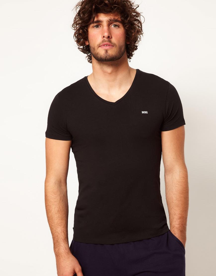 DIESEL Michael V Neck T-shirt in Black for Men - Lyst