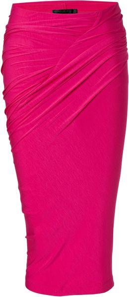 Donna Karan New York Shocking Pink Draped Jersey Skirt in Black (pink) - Lyst.