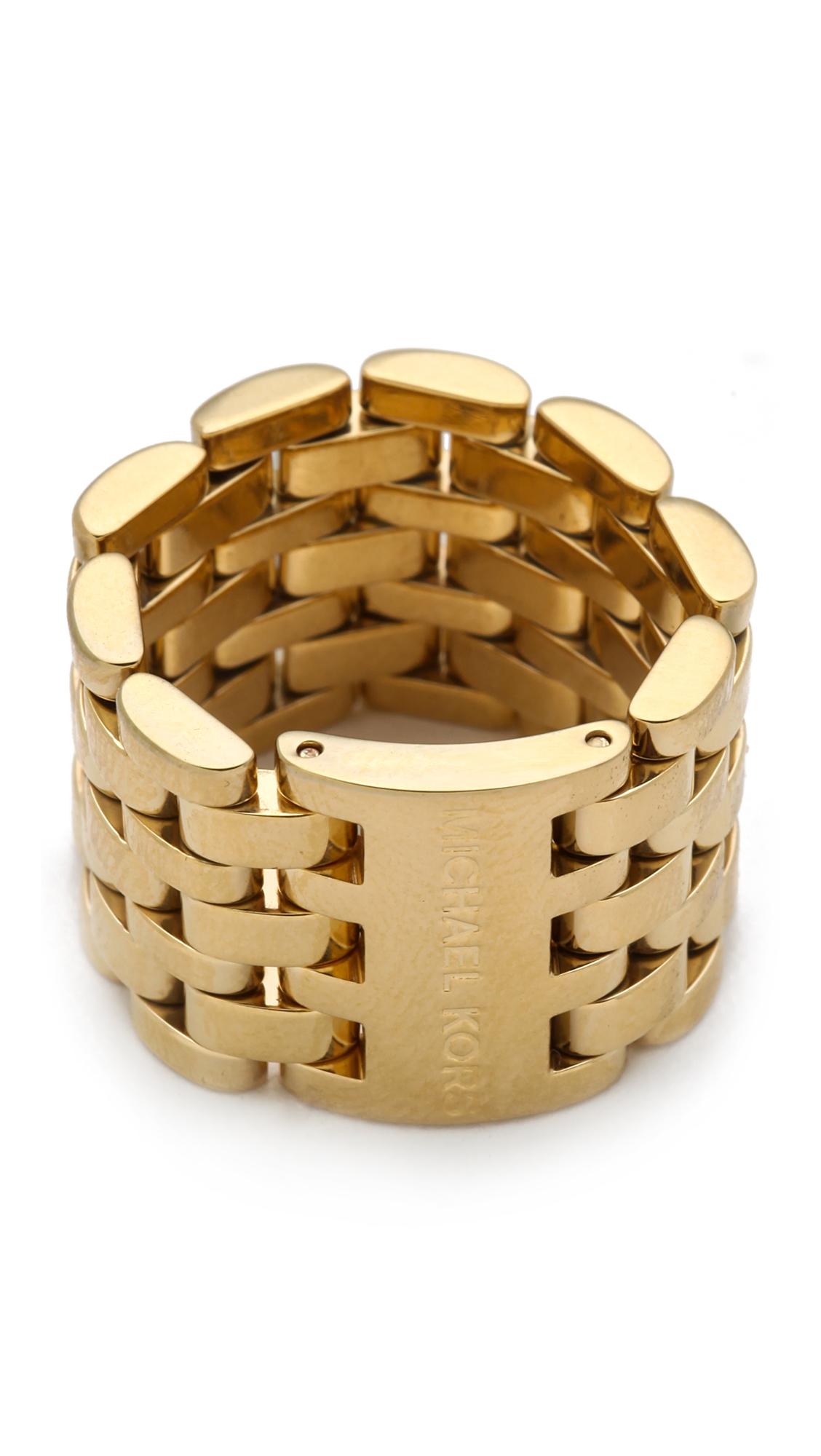 michael kors watch link ring in gold lyst. Black Bedroom Furniture Sets. Home Design Ideas