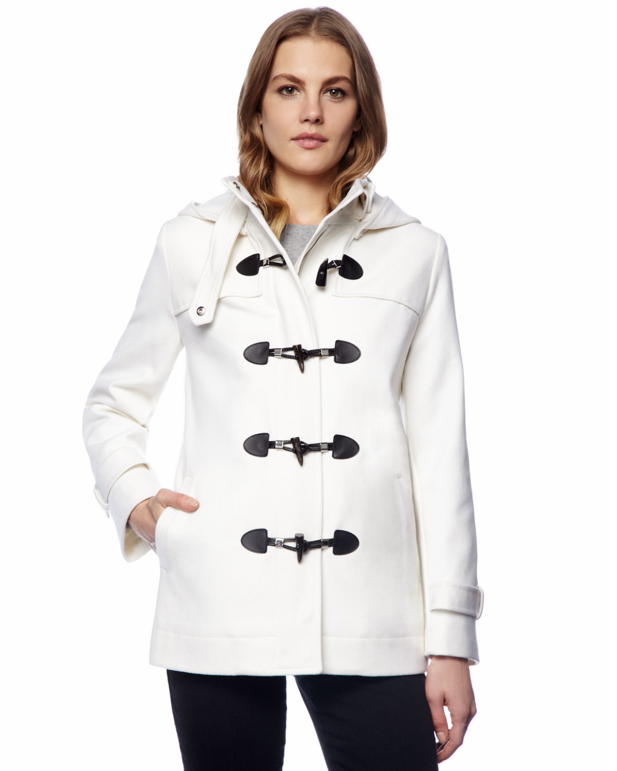 Michael kors Hooded Toggle Coat in White | Lyst