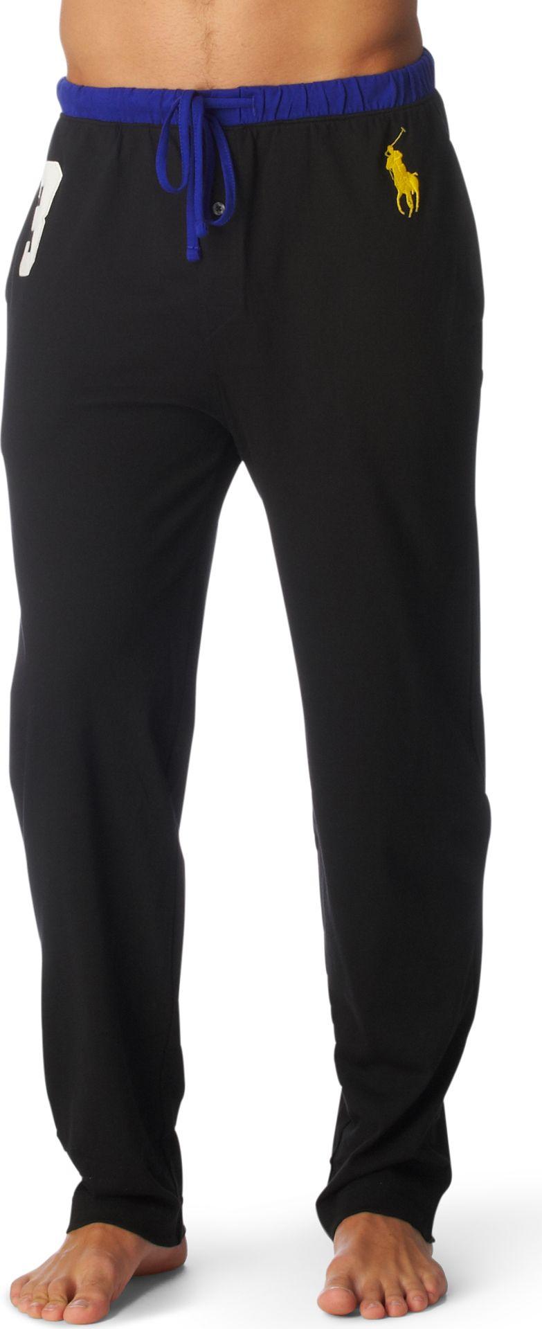 Ralph Lauren Contrast Waistband Pyjama Bottoms In Black