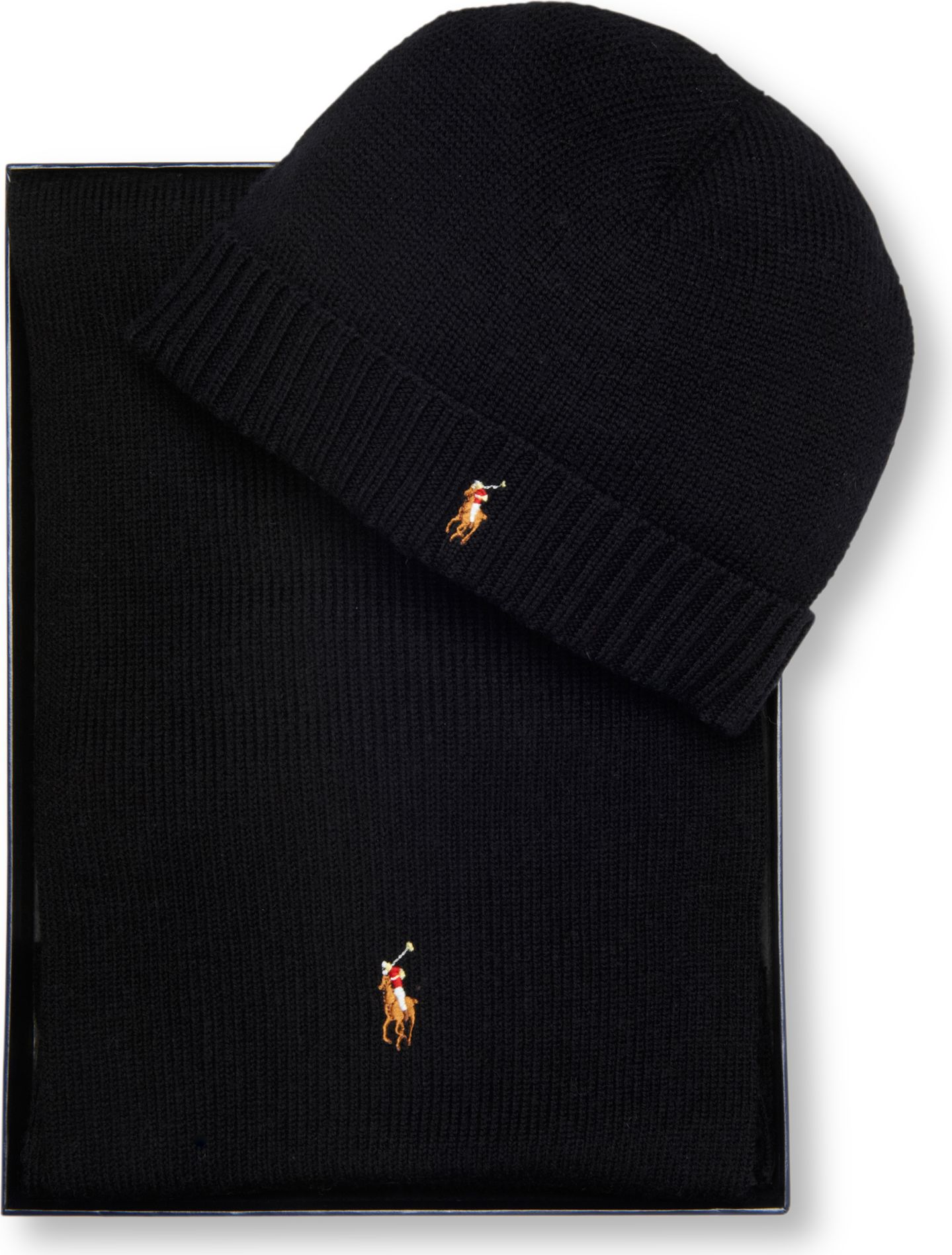 ralph lauren pony player beanie hat and scarf set in black