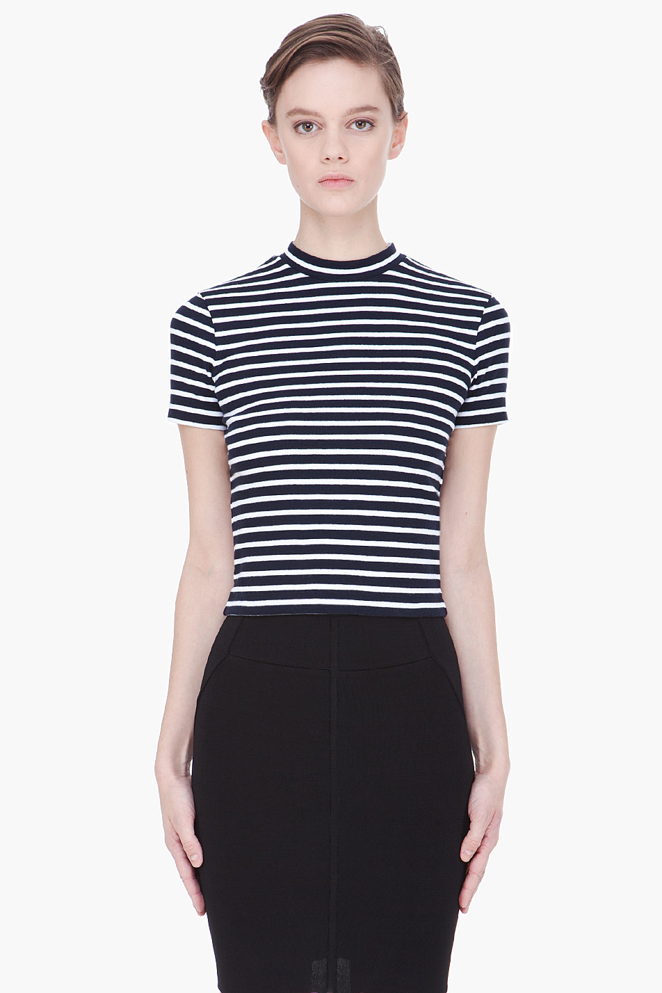 T by alexander wang twisted stripe top in black lyst for T by alexander wang t shirt