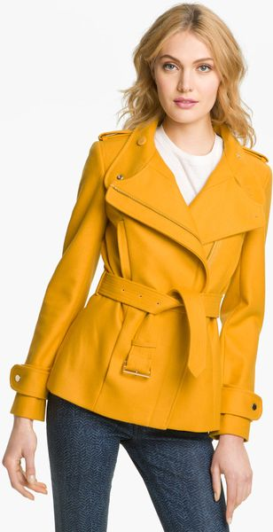 Ted Baker Funnel Neck Wool Blend Jacket in Yellow (mustard)