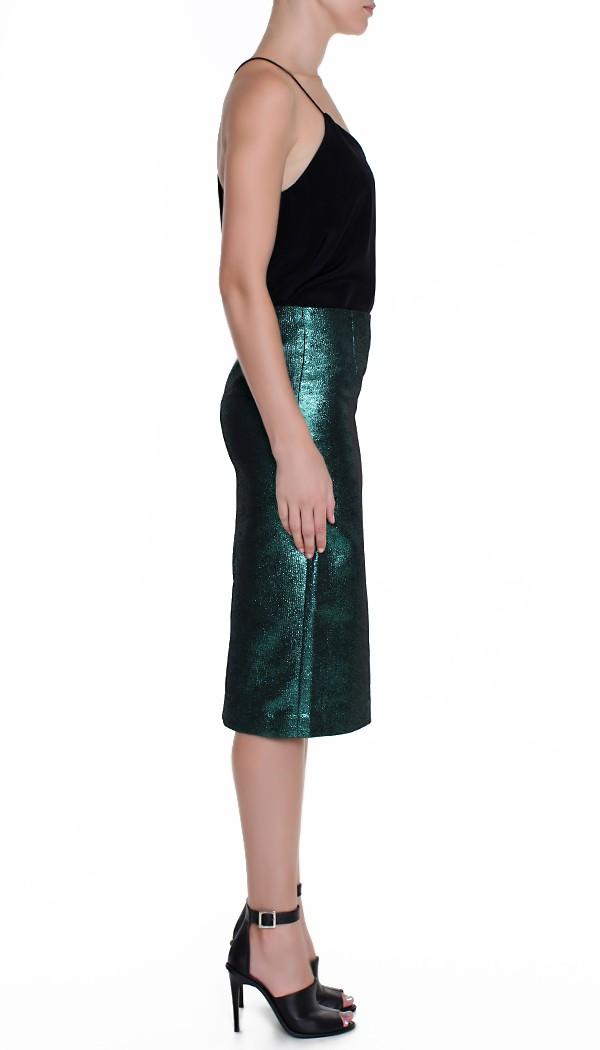 tibi lurex jacquard pencil skirt in green lyst