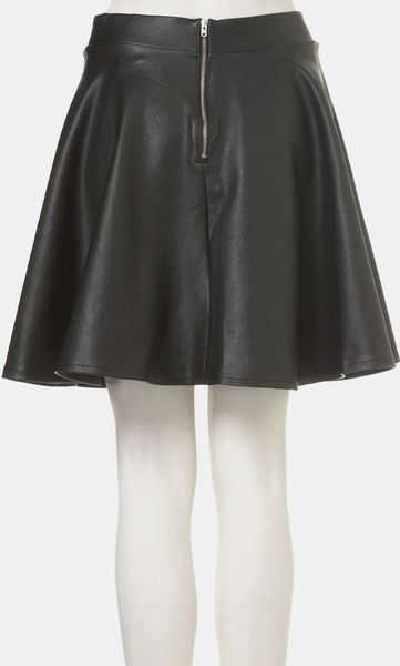 topshop andie faux leather skater skirt in black lyst
