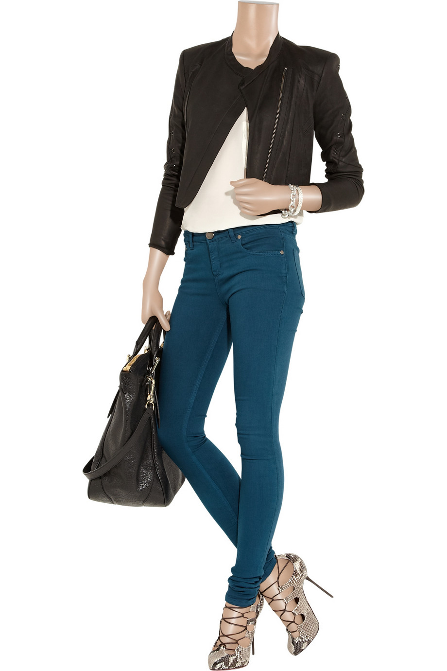 victoria beckham power mid rise leggings style jeans in blue lyst. Black Bedroom Furniture Sets. Home Design Ideas