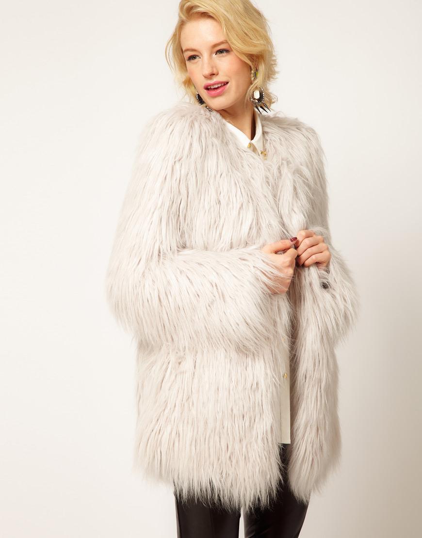 Asos collection Asos Mongolian Fur Jacket in White | Lyst