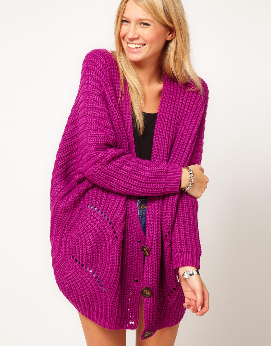 Asos collection Asos Oversized Cardigan in Chunky Rib in Purple | Lyst