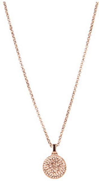 Michael Kors Brilliance Rose Gold Concave Pave Pendant Necklace - Lyst