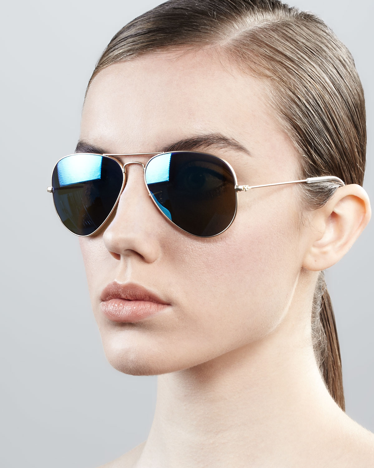 e3e0bdf0997 ... low price ray ban aviator sunglasses with flash lenses in black lyst  4ab75 782ce