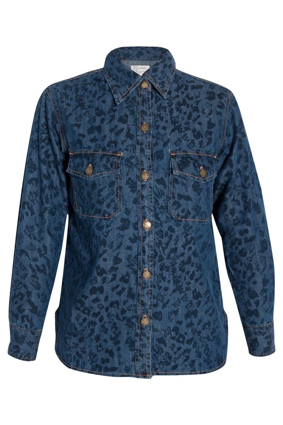 Blue Leopard Print Denim Panel Shirt