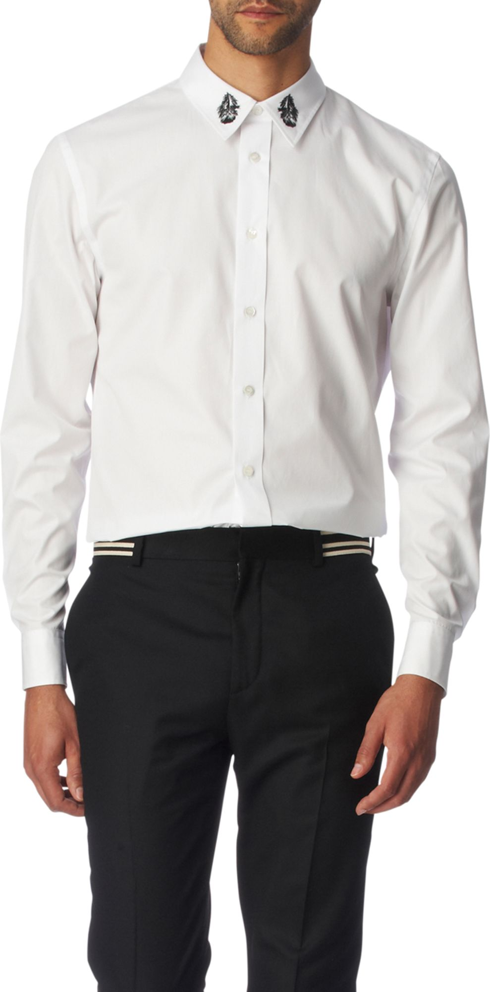 Alexander mcqueen embroidered collar slim fit single cuff for Single cuff dress shirt