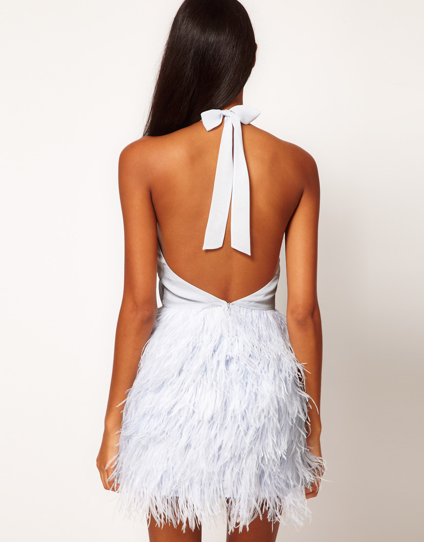 Asos Halter Dress With Embroidered Bodice And Feather