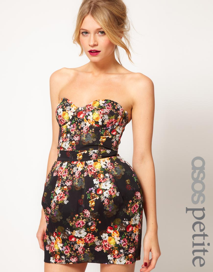 782a4f8d30f1 ASOS Strapless Corset Dress in Floral Print - Lyst