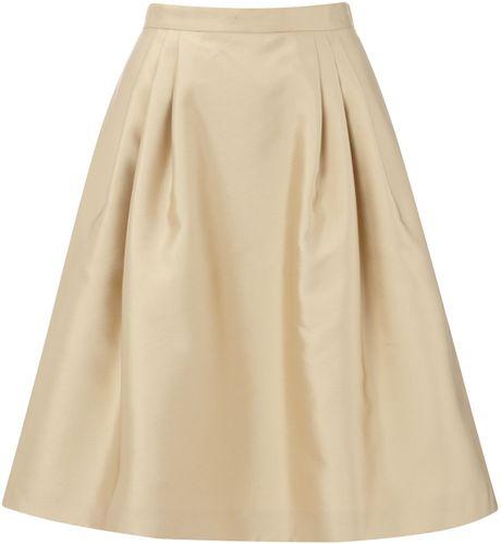 max mara studio braies pleated a line skirt in beige lyst