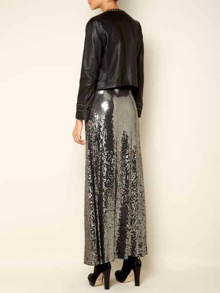 michael by michael kors sequin maxi skirt in black nearly