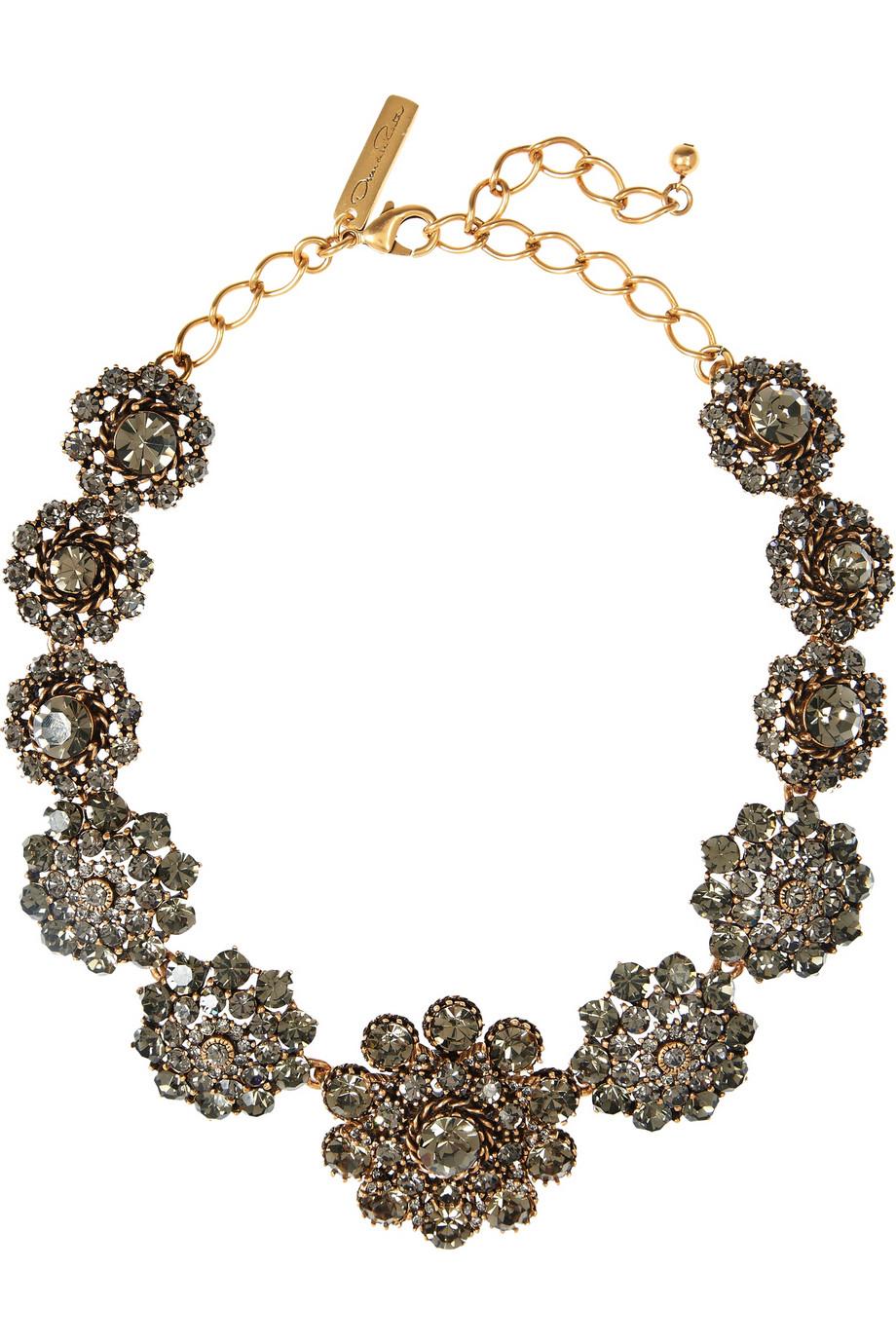 Oscar de la Renta Embellished Floral Necklace in Gold (Metallic)