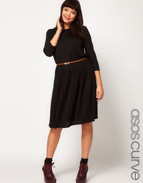 asos curve midi dress with pleat skirt in black lyst