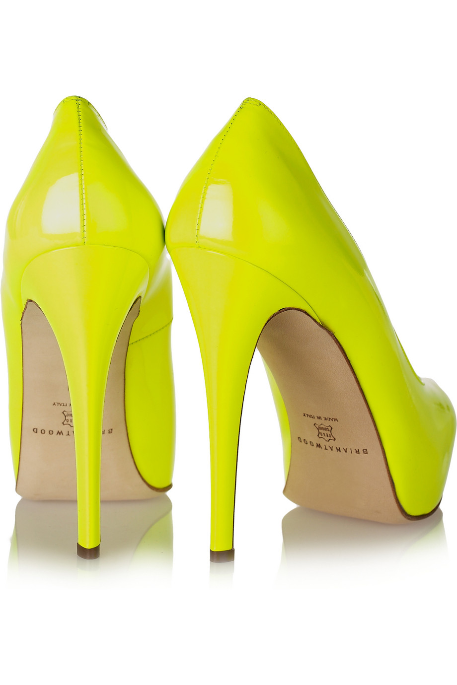 Lyst - Brian Atwood Maniac Neon Patent-leather Platform ...